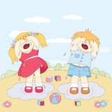 Crying little boy and girl Stock Image