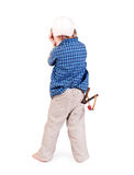 Crying little boy with slingshot Stock Photo