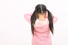 Crying little girl. Crying standing little girl, back view Stock Photos
