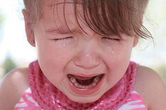Crying Little Girl. Little toddler girl crying with tears streaming down her face Stock Photos