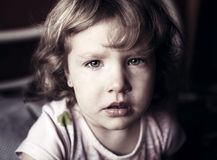 Crying little girl. Abuse child Royalty Free Stock Photos
