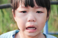 Crying little girl. Closeup crying kid with tears on her eyes Stock Images