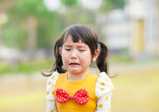 Crying little girl in the park Royalty Free Stock Photo