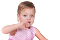 Crying little girl in pink Stock Photography