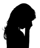 Crying little girl. Silhouette of crying little girl Royalty Free Stock Image