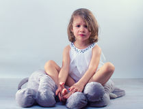 Crying little girl. Upset almost crying little girl Royalty Free Stock Images