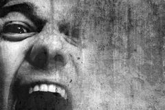 Crying man. An angry man picture in black and white Stock Photos