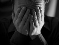 Crying Man - Front. Young caucasian man crying or depressed Stock Images