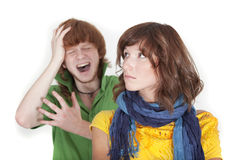 Crying man and unhappy woman Stock Photo