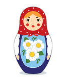 Crying matryoshka. Vector colorful illustration of a Russian nesting doll Matryoshka crying. Bright colors, traditional ornament. Isolated on white Stock Image