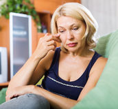 Crying  mature  woman Stock Images