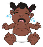 Crying negro baby girl. Baby girl with black skin sit and crying Stock Image
