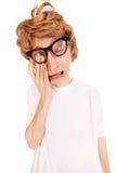 Crying nerd Stock Photo