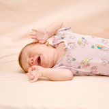 Crying newborn. Close-up portrait of crying newborn. Something bothers him royalty free stock images