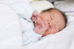Crying newborn baby girl Stock Images