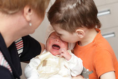 Crying newborn Stock Photos