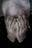 Crying old man. Portrait of old man with white hair crying Royalty Free Stock Image
