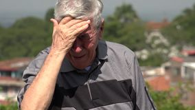 Crying Old Man Or Senior stock video footage