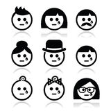 Crying people faces - man, woman, baby icons set Royalty Free Stock Photography