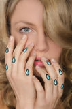 Crying portrait of woman with tears in hands Royalty Free Stock Images