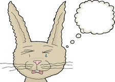 Crying Rabbit with Thought Bubble Royalty Free Stock Photography