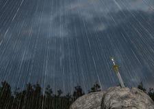 Crying Rain Hero Sword In Stone Fantasy Illustration Royalty Free Stock Photos