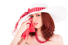 Crying retro stylish young woman. In hat on white background Stock Photo