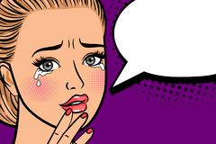 Crying retro woman portrait. Crying retro woman. Portrait of sadness and crying retro girl, vintage female face with tears in eyes in comic style vector Stock Photo