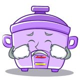 Crying rice cooker character cartoon Royalty Free Stock Images