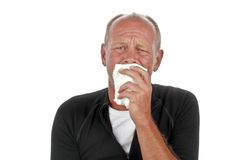 Crying sad man. On a white background stock photos