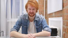 Crying Sad Redhead Beard Man Feeling Upset, Tears in Eyes. 4k , high quality stock video