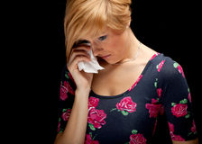 Crying sad young woman Royalty Free Stock Images