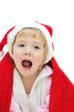 Crying santa girl Royalty Free Stock Photos