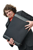 Crying scared businessman with holding briefcase Royalty Free Stock Images