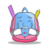 Crying school bag character cartoon. Vector illustration Stock Photography