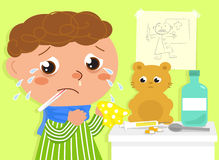 Crying Sick boy vector Stock Images