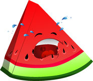 Crying slice of watermelon Royalty Free Stock Photos