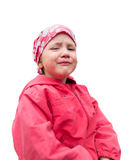 Crying small girl in red clothes Stock Photo