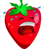 Crying strawberry Royalty Free Stock Photography