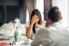 Free Crying Stressed Woman Reaction To Negative Event,handling Bad News.Breaking Up Long Relationship.Emotional Woman In Grief Royalty Free Stock Images - 110028759