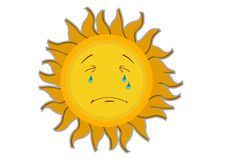 Crying Sun Cartoon Character Stock Images