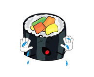 Crying sushi cartoon Royalty Free Stock Images