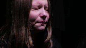 Crying teen girl. Beautiful sad teen girl crying stock footage