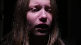 Crying teen girl stock video footage