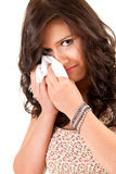 Crying teenage girl with handkerchief Royalty Free Stock Photography