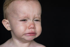 Crying Toddler. Image of crying toddler sitting in front of a black background Royalty Free Stock Photography