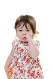 Crying toddler. Sad littler girl crying and looking upset royalty free stock photography