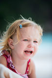 Crying toddler girl. Outdoor portrait of cute crying toddler girl Stock Photos