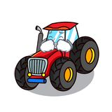 Crying tractor mascot cartoon style. Vector illustration Stock Images