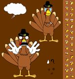 Crying Turkey cartoon thanksgiving expressions set Royalty Free Stock Image